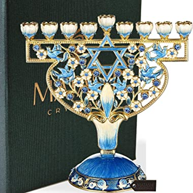 Matashi Hand Painted Enamel Menorah Candelabra Embellished with Gold Accents and Crystals (Doves & Flowers Design)