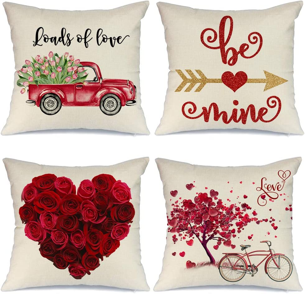 Amazon Com Aeney Valentines Day Pillow Covers 18x18 Inch Set Of 4 For Home Decor Truck Flower Red Heart And Love Bicycle Decor Valentines Day Throw Pillows Decorative Cushion Cases Valentine Decorations A286