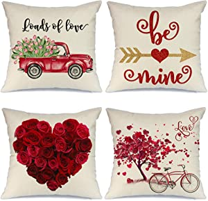 AENEY Valentines Day Pillow Covers 18x18 inch Set of 4 for Home Decor Truck Flower Red Heart and Love Bicycle Decor Valentines Day Throw Pillows Decorative Cushion Cases Valentine Decorations A286