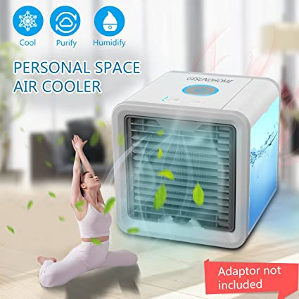 Nifogo Climatizador Evaporativo 3-en-1 Mini Ventilador Humidificador Purificador de Aire USB Aire Acondicionado para Casa//Oficina//Camper//Garaje Aire Acondicionado Port/átil