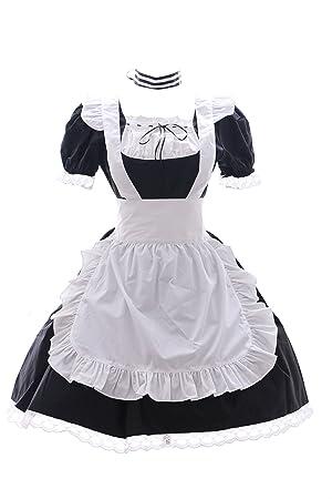 JL 576 schwarz Maid Zimmermädchen Zofe Gothic Lolita Kleid Kostüm dress Cosplay (EUR Gr. L)
