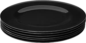 Bayview Essentials- Shatter-Proof and Chip-Resistant Classic Melamine Dinner Plate- Set of 6- 10.5 inches (Black)
