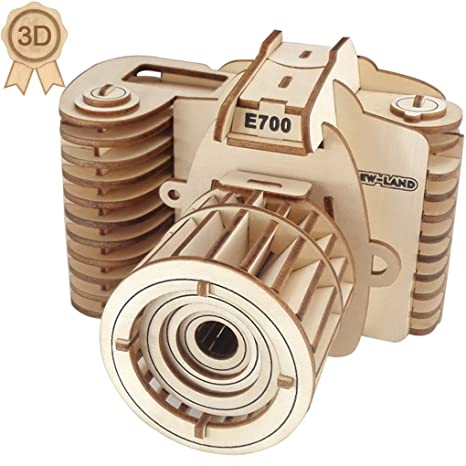 3D Wooden Puzzles Laser Engraving DIY Safe Assembly Constructor Kit Toy for  Kids Teens and Adults (F1 Camera)