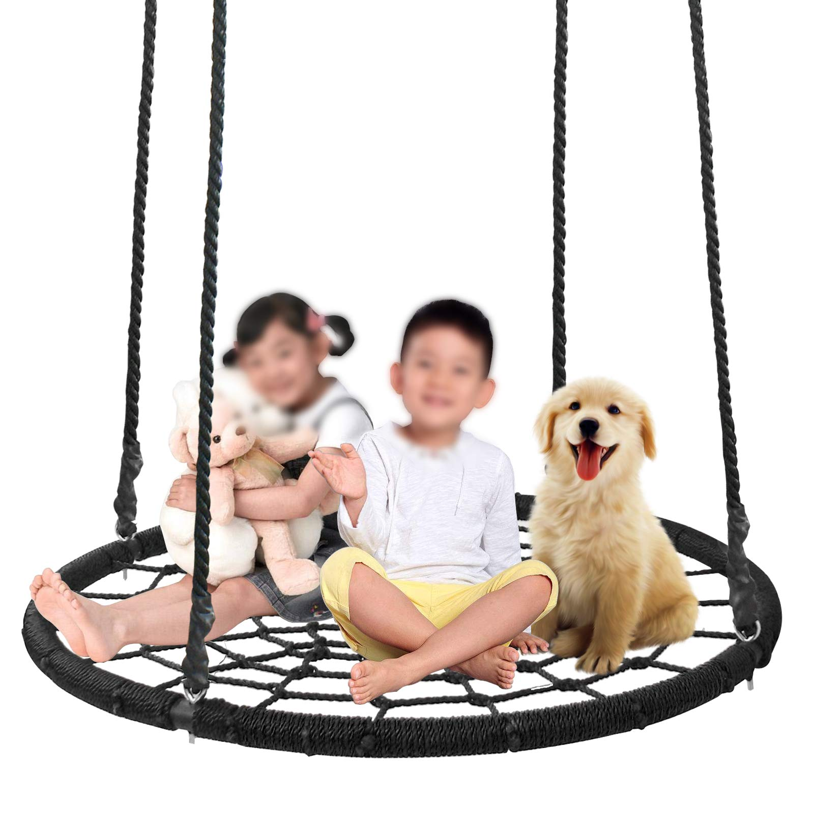 SUPER DEAL Largest 48'' Web Tree Swing Set - Extra Large Platform - 360 Rotate°- Adjustable Hanging Ropes - Attaches to Trees or Existing Swing Sets - for Multiple Kids or Adult by SUPER DEAL