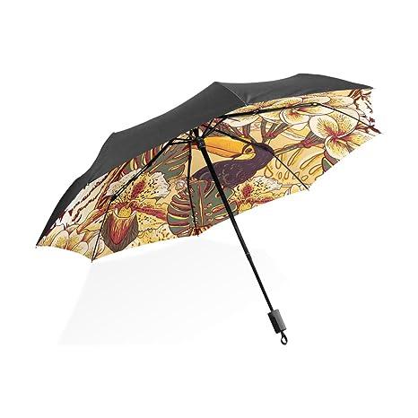 COOSUN Fondo tropical floral transparente con Tiger personalizada plegable de Sun paraguas de la lluvia del