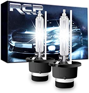RCP - D2S6 - (A Pair) D2S/ D2R 6000K Xenon HID Replacement Bulb Diamond White Metal Stents Base 12V Car Headlight Lamps Head Lights 35W