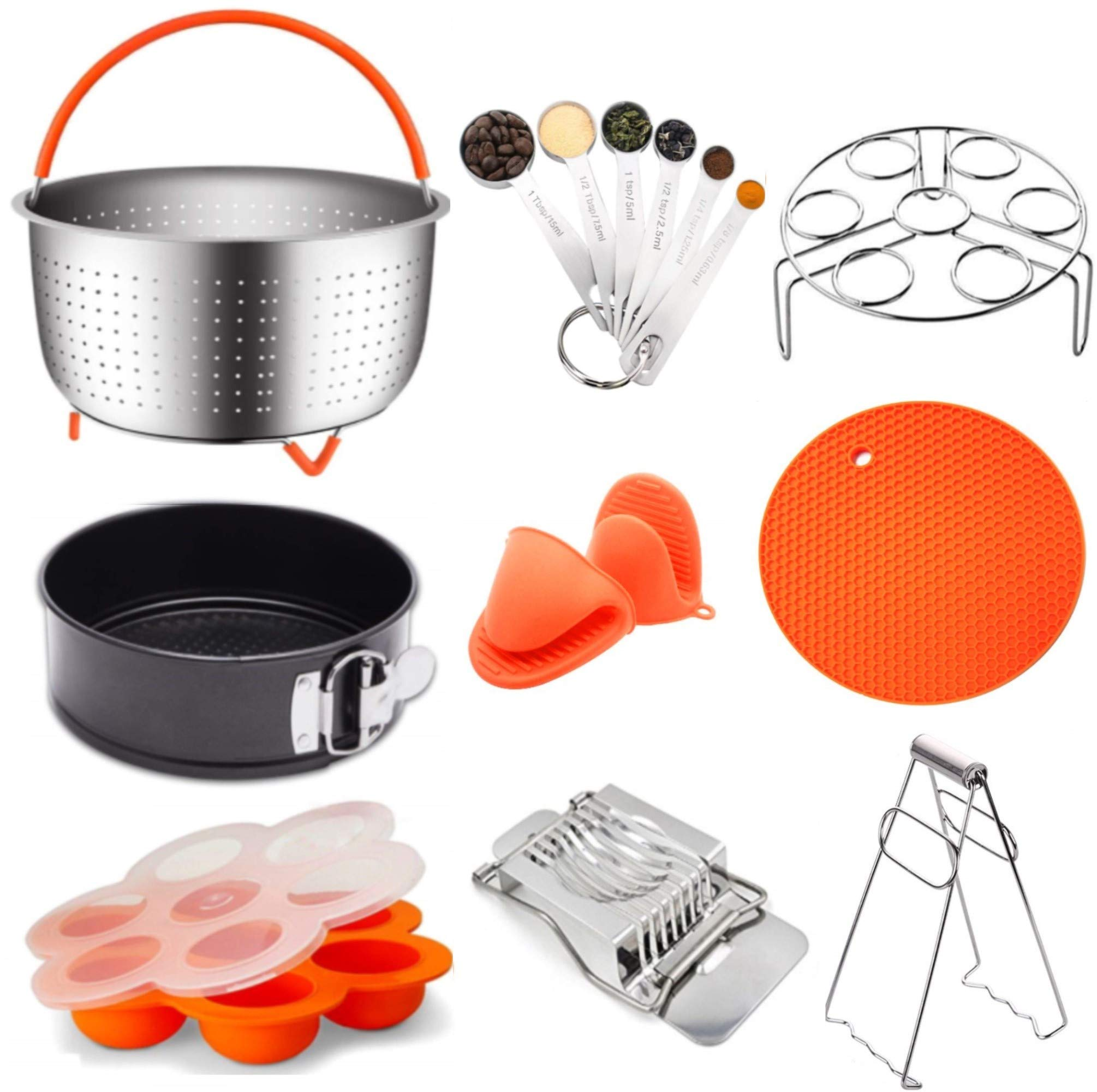 15-Piece Pressure Cooker Accessories Set | Complete Kit For Instant Pot And Other pressure cookers | Steamer Basket, Springform Pan, Egg Bite Mold, Egg Rack/Trivet For InstaPot Insta Pot