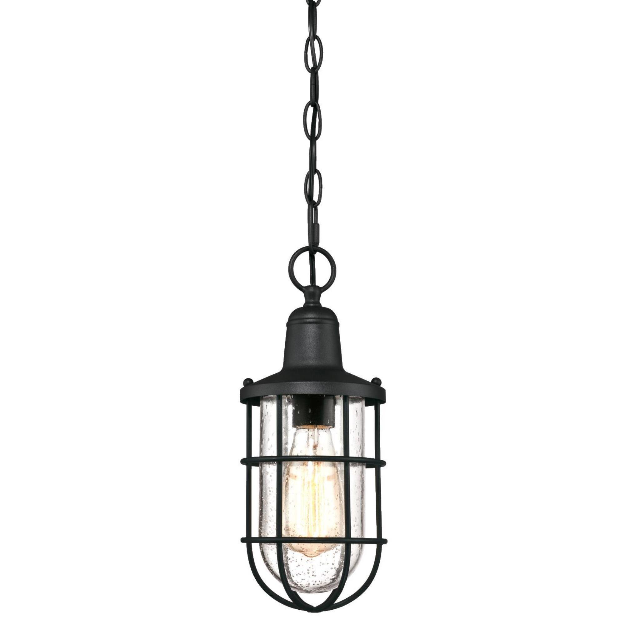 Westinghouse Lighting 6334800 Crestview One-Light Outdoor Pendant, Textured Black Finish with Clear Seeded Glass, Oil Rubbed Bronze by Westinghouse Lighting