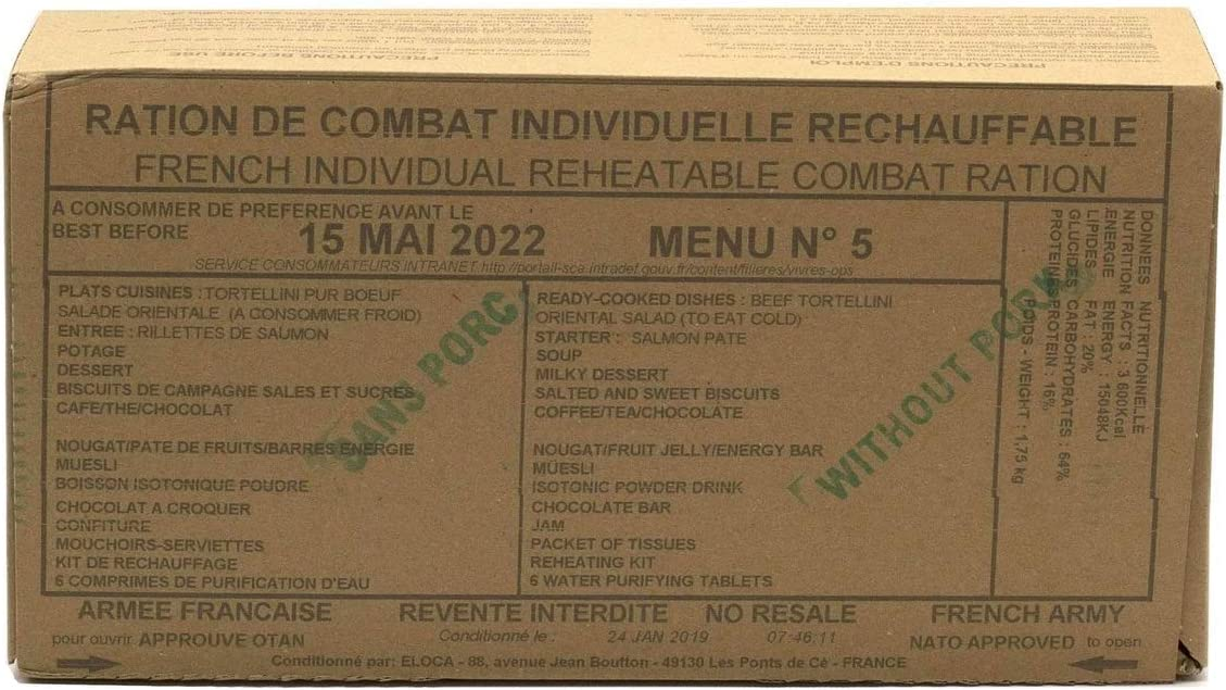 New FRENCH MRE Army Ration Meal Ready To Eat Emergency Food Supplies Genuine RCIR (Menu 12)