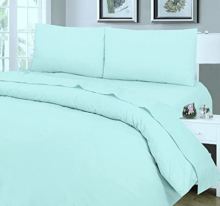 Love2Sleep EGYPTIAN COTTON FITTED SHEET HOTEL QUALITY   4FT (SMALL DOUBLE)  DUCK EGG BLUE