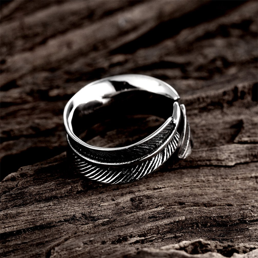 HMILYDYK 9mm 316L Stainless Steel Vintage Punk Rock Leaf Feather Adjustable Ring for Mens Womens by HMILYDYK (Image #5)