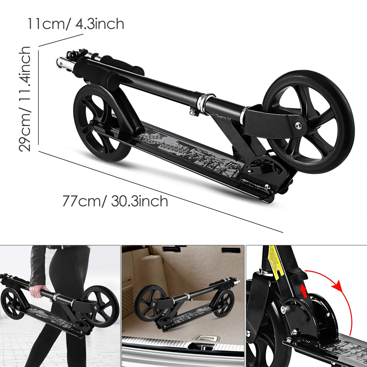 Hikole Scooter for Adult Youth Kids - Foldable Adjustable Portable Ultra-Lightweight   Teen Kick Scooter with Shoulder Strap, Birthday Gifts for Kids 8 Years Old and Up   Support 220 lbs by Hikole (Image #4)