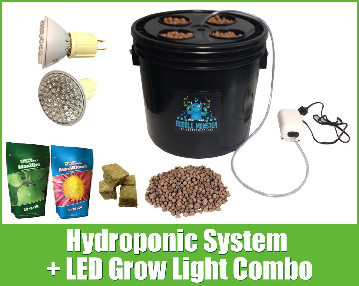 4 Site Hydroponic System LED Combo - Complete Grow System - DWC Hydroponic Kit
