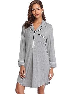66e08a08ec Lusofie Nightgown Women s Long Sleeve Nightshirt Boyfriend Sleep Shirt  Button-up Lapel Collar Sleepwear