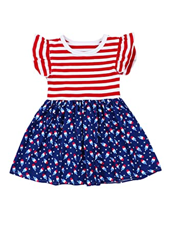 59290fe3 4th of July Dress Toddler Kids Baby Girl Fourth Outfit Short Sleeve Stripe  Top Patriotic Clothes Custom Dress
