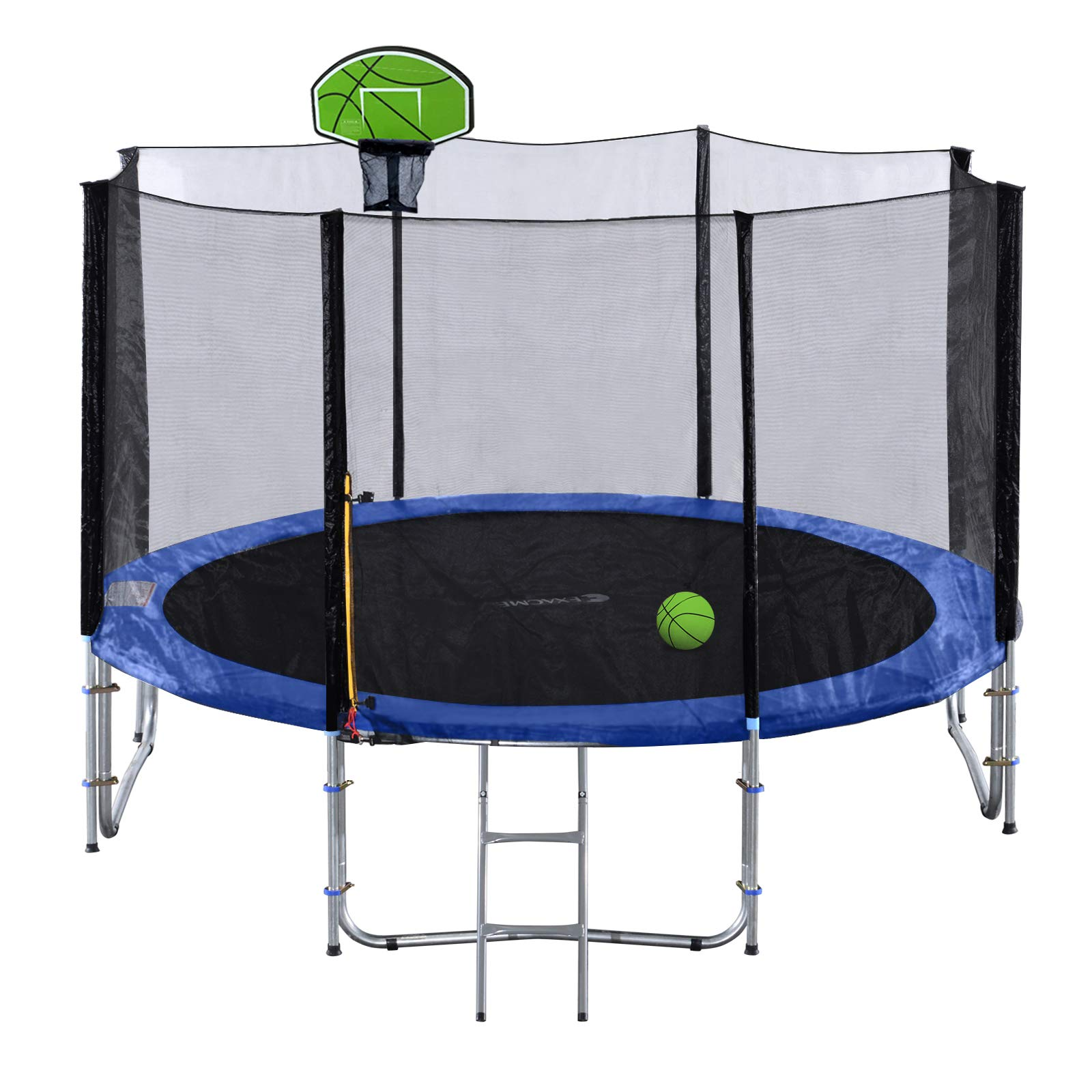 Exacme 10FT Trampoline with Safety Pad,Enclosure Net,Ladder and Green Basketball Hoop (10 FT)