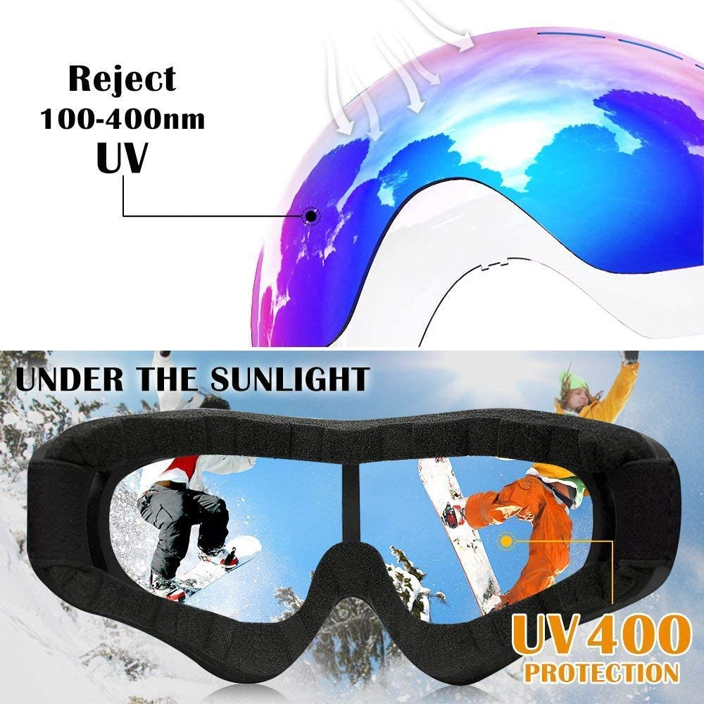 CherryCsy Ski Goggles UV Protection Over Glasses Motorcycle Skiing & Skating & Outdoor Sport for Men Women & Youth 2 PCS