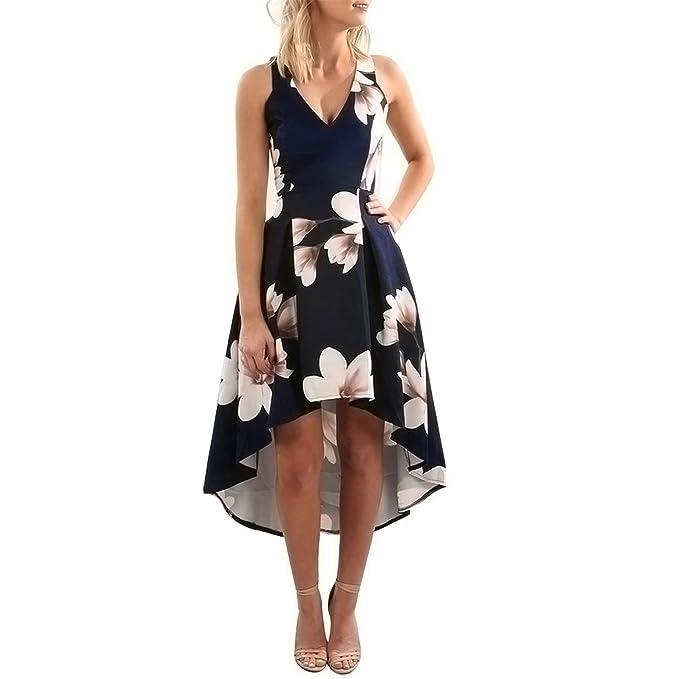 Lilien-Drucken kleider ❤ Loveso Damen Kleid Abendkleid Ärmellos ...