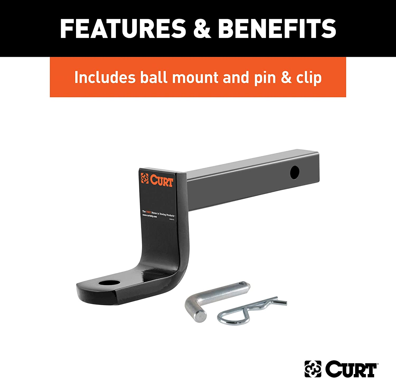 CURT 110743 Class 1 Trailer Hitch with Ball Mount 1-1//4-Inch Receiver  for Select Volkswagen GTI Rabbit