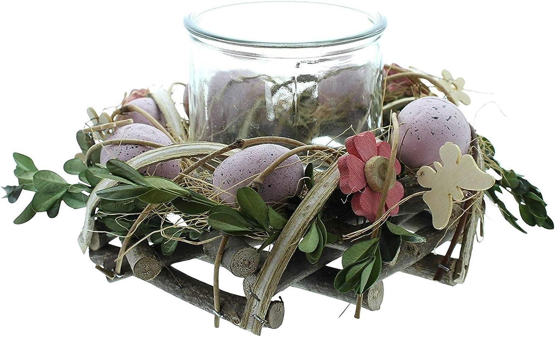 """Glaswindlicht Teelicht-S/äule mit Eiern dekorativer Kerzenhalter aus Weide mit Glas Oster-Deko Windlichtkranz /""""Fr/ühlingsnest/"""" 2tlg"""