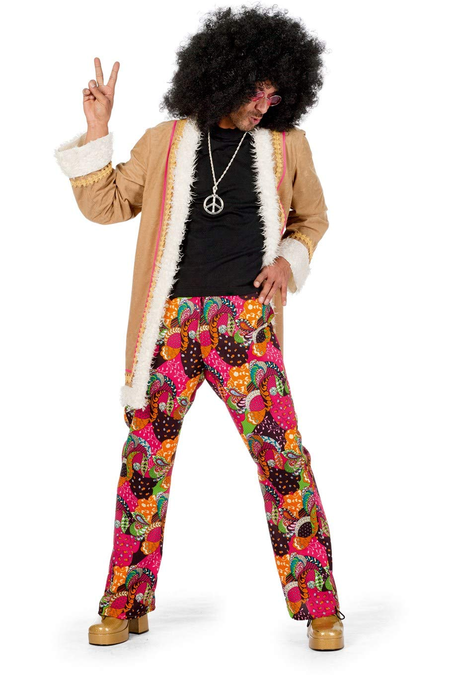 Wilbers 5456 Hippie-Kostüm Herren 2-teilig Jacke mit Fell-Saum und Hose Hochwertige Verkleidung Gruppenkostüm Partnerkostüm Männer Größe 50 Multi B07L34BZR2 Kostüme für Erwachsene Gute Qualität  | eine große Vielfalt