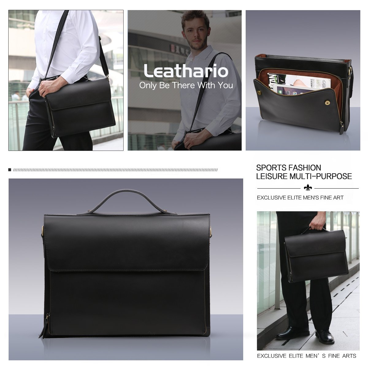 Leathario Leather Briefcase for Men Leather Laptop Bag Shoulder Messenger Bag Business Work Bag by Leathario (Image #6)