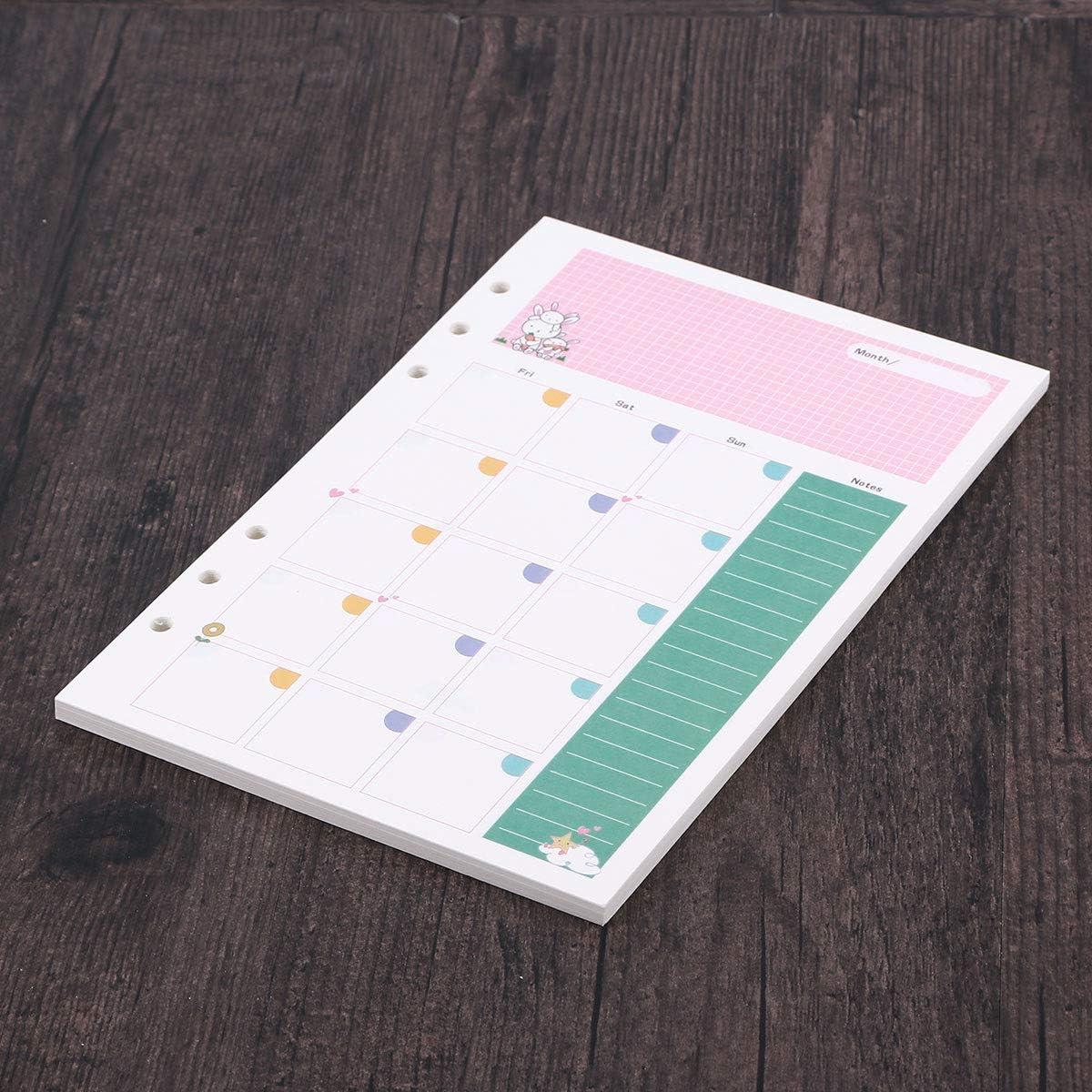 YeahiBaby 2pcs ricariche Colorate Inserti Formato A5 Fori 6 Fogli di Carta Sfusa riempitivo di Carta ricariche per Notebook a Spirale mensile Planner Notepad Modello Piano mensile