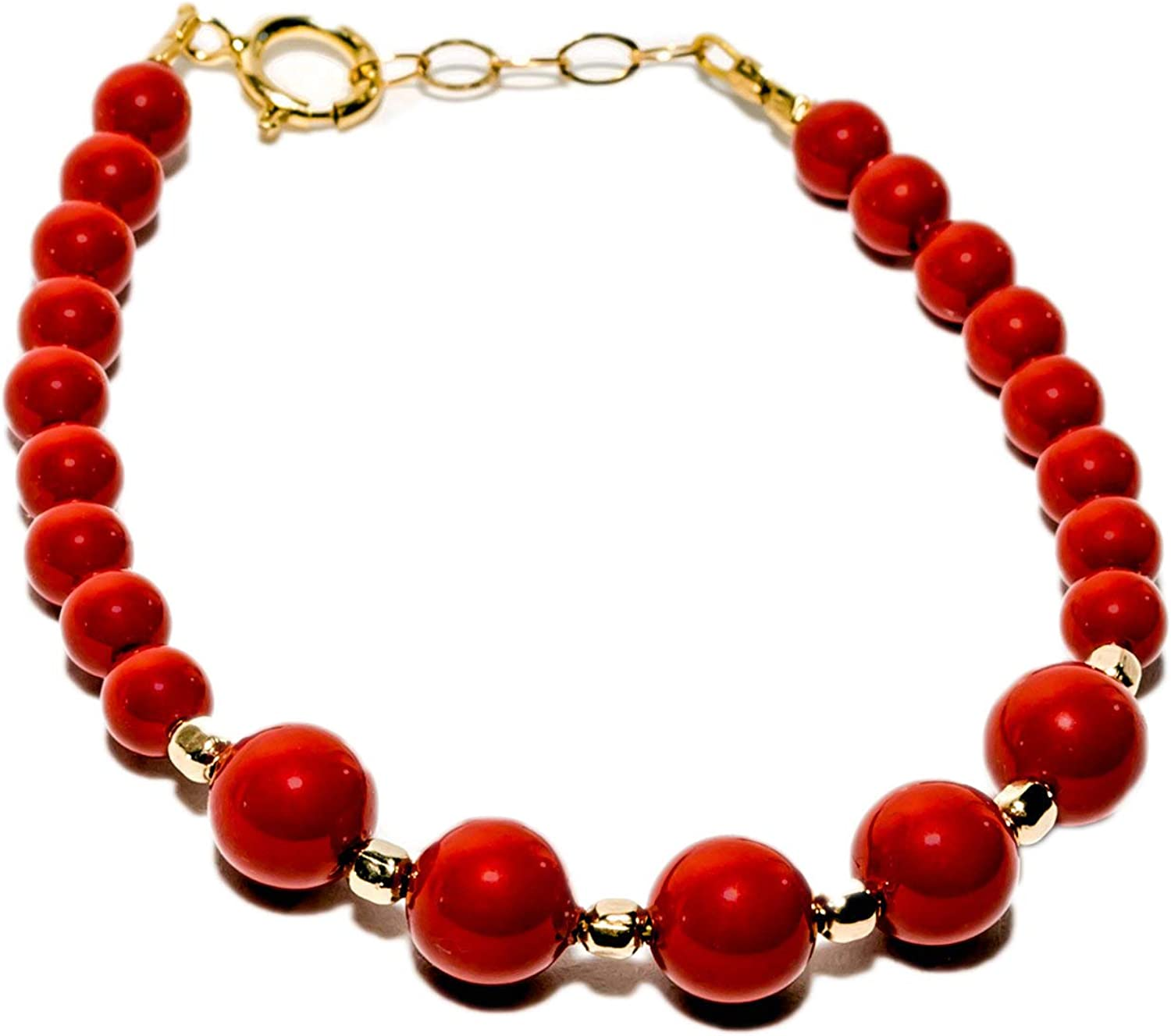 Bracelet coral beads and chain gold filled