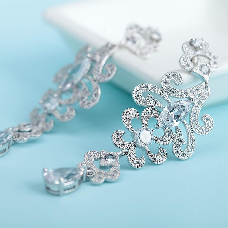 Silver Earrings By CS-DB White Romantic Waterdrop Leaf Cubic Zirconia Long Chandelier Stud Earrings For Womens