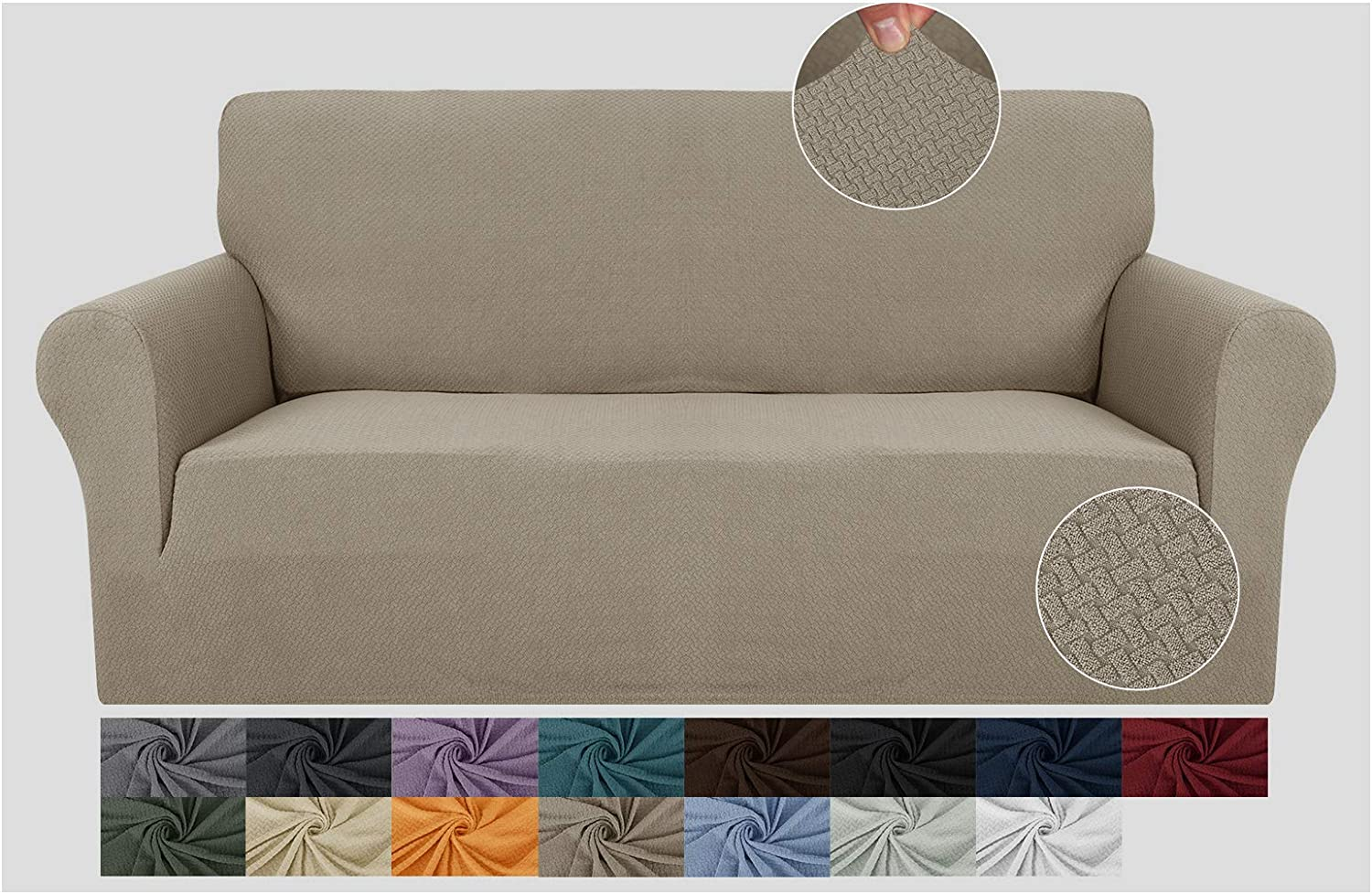 JIVINER Super Stretch 1 Piece Sofa Covers for 3 Cushion Couch Newest Jacquard Non Slip Sofa Slipcovers Thick Couch Covers for Pets Furniture Protector with Elastic Bands (Sofa, Khaki)