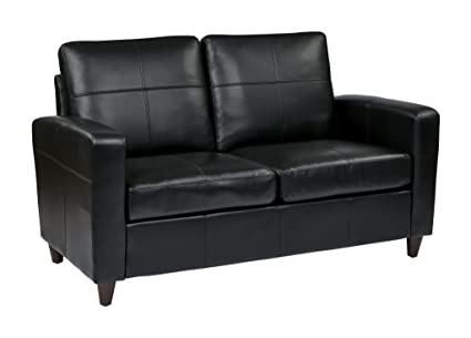 Etonnant Office Star Lounge Espresso Bonded Leather Loveseat With Espresso Finish  Legs, Black