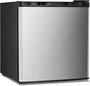 Upright Freezer Lock 1.1 Cubic Feet with Reversible Stainless Steel Door Removable Shelves Mini Freezer Adjustable Thermostat Refrigerant for Home Office (Stainless steel-1.1cu.ft)