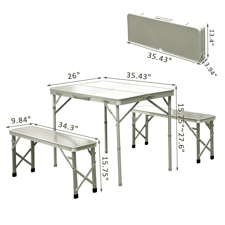 3 Foldable Patio Picnic Table Bench Seat Aluminum Portable Outdoor Garden Camping W Case 514