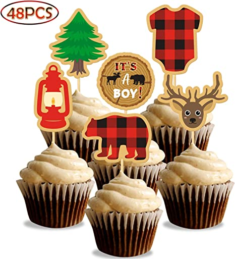 26 packs Lumberjack Theme Banner Cake topper Party Supplies for Kid Birthday /& Baby Shower Party Decoration