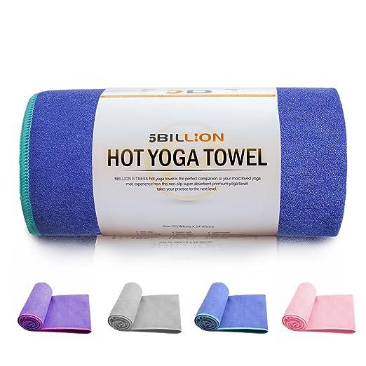 5BILLION Microfibra Toalla de Yoga - 183cm*61cm - Hot Toalla de Yoga, Bikram Toalla de Yoga, Ashtanga Toalla de Yoga - Antideslizante, Absorbente - con ...