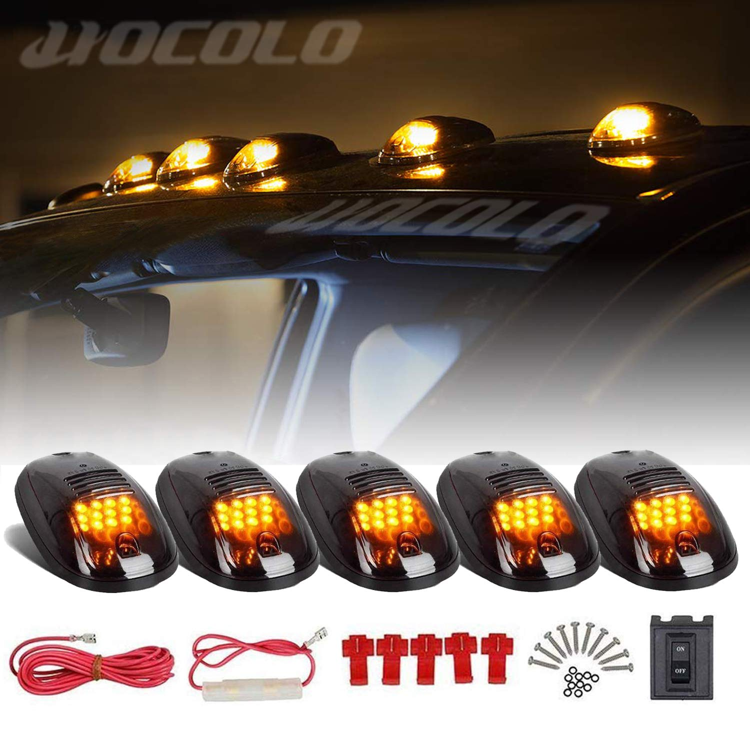 5x HOCOLO Cab Marker Light 16LED Amber Roof Running Top Lights w//Wiring Harness Replacement for 1973-1997 Ford F150 F250 F350 F Super Duty Pickup Trucks Assembly itself Owned LED Chip Rhombus Smoked Cab Marker Assembly+16 Amber Light, Without T10