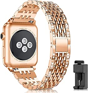LBYZCAS Stainless Steel Strap Band Compatible for Apple Watch 42mm 44mm iWatch Series 5 4 3 2 1,Metal Replacement Wristband Bracelet for Womens and Mens