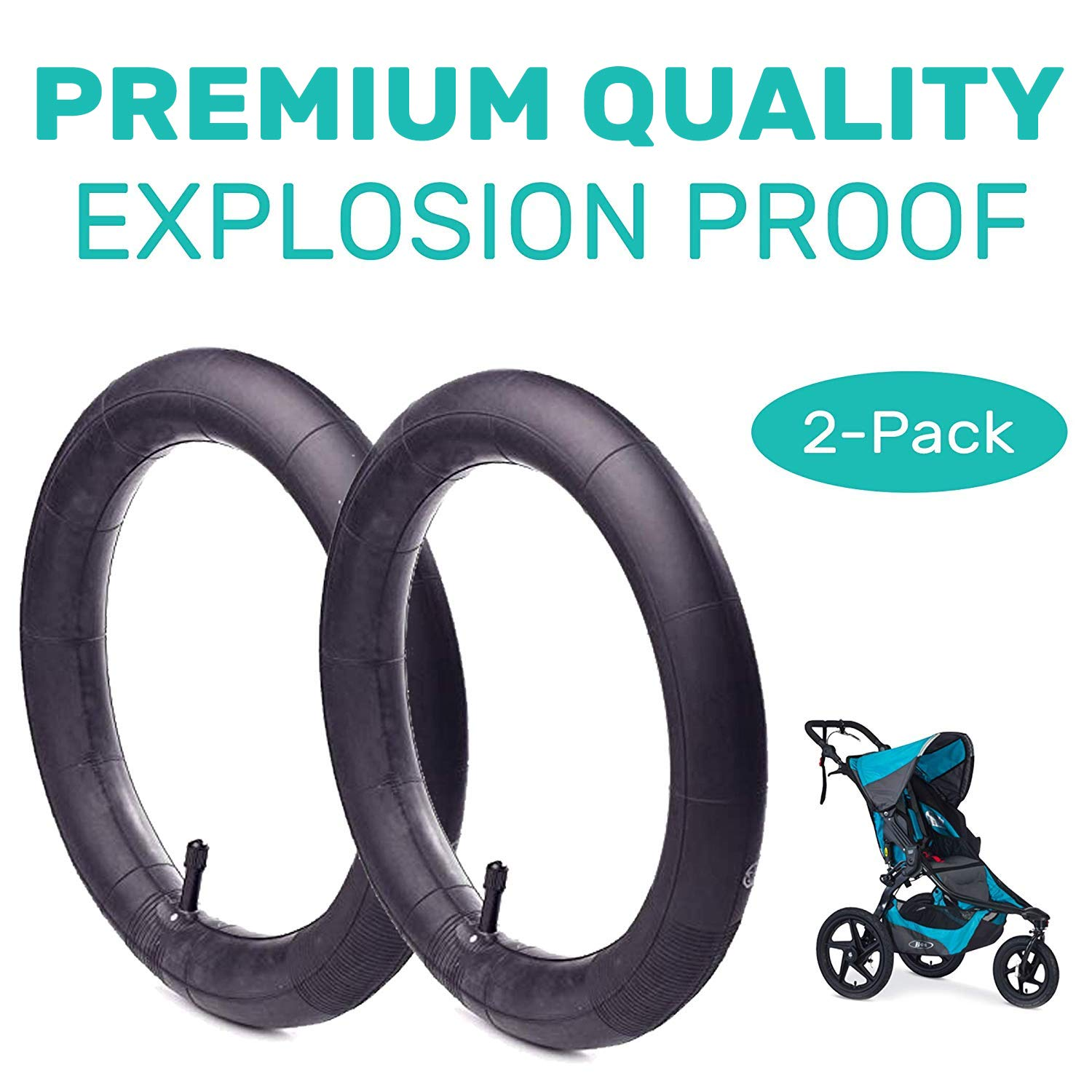 16'' x 1.75/2.15 Back Wheel Replacement Inner Tubes (2-Pack) for BoB Revolution SE/Pro/Flex/SU/Ironman - Made from BPA/Latex Free Premium Quality Butyl Rubber