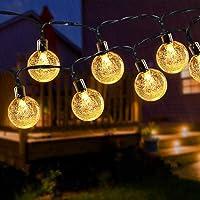 Guirnalda de Luces Solares para Exteriores, 24 pies, 50 LED, Luces Solares de Jardín, Impermeable, Bola de Cristal…