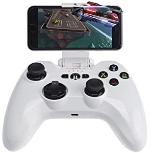 PXN 6603 MFi Certified Speedy Wireless Gamepad Controller Portable Joystick Vibration Handle Gamepad Compatible with Apple iPhone 12 iPhone 11 SE XR XS iPhone8/7/6 iOS Smart IPad iPod Apple TV(white)