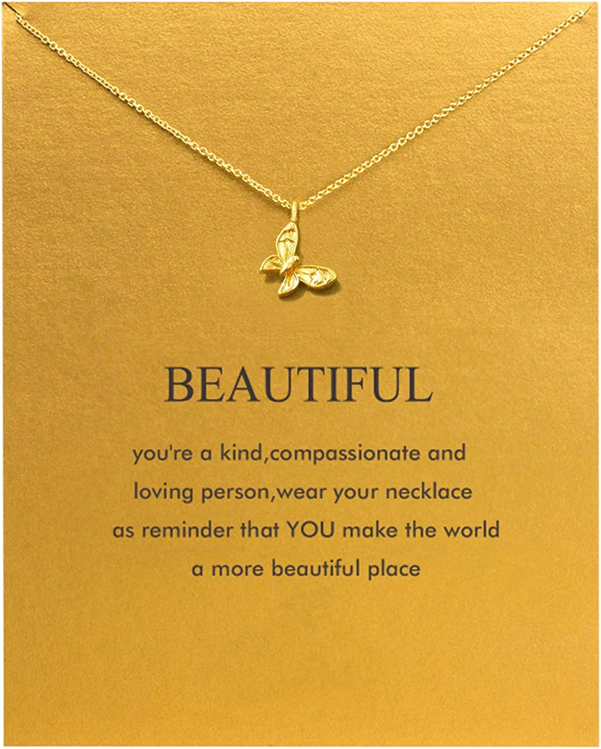 Thinking of You Gold Necklace Birthday Gift Small Gift Dainty Heart Chain with Card and Envelope Simple Jewelry