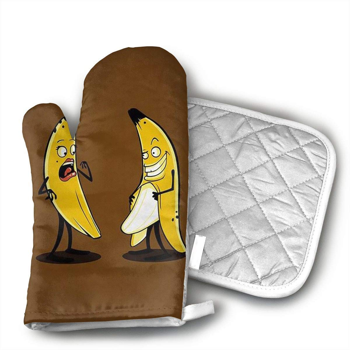 TRENDCAT Funny Banana Oven Mitts and Potholders (2-Piece Sets) - Extra Long Professional Heat Resistant Pot Holder & Baking Gloves - Food Safe