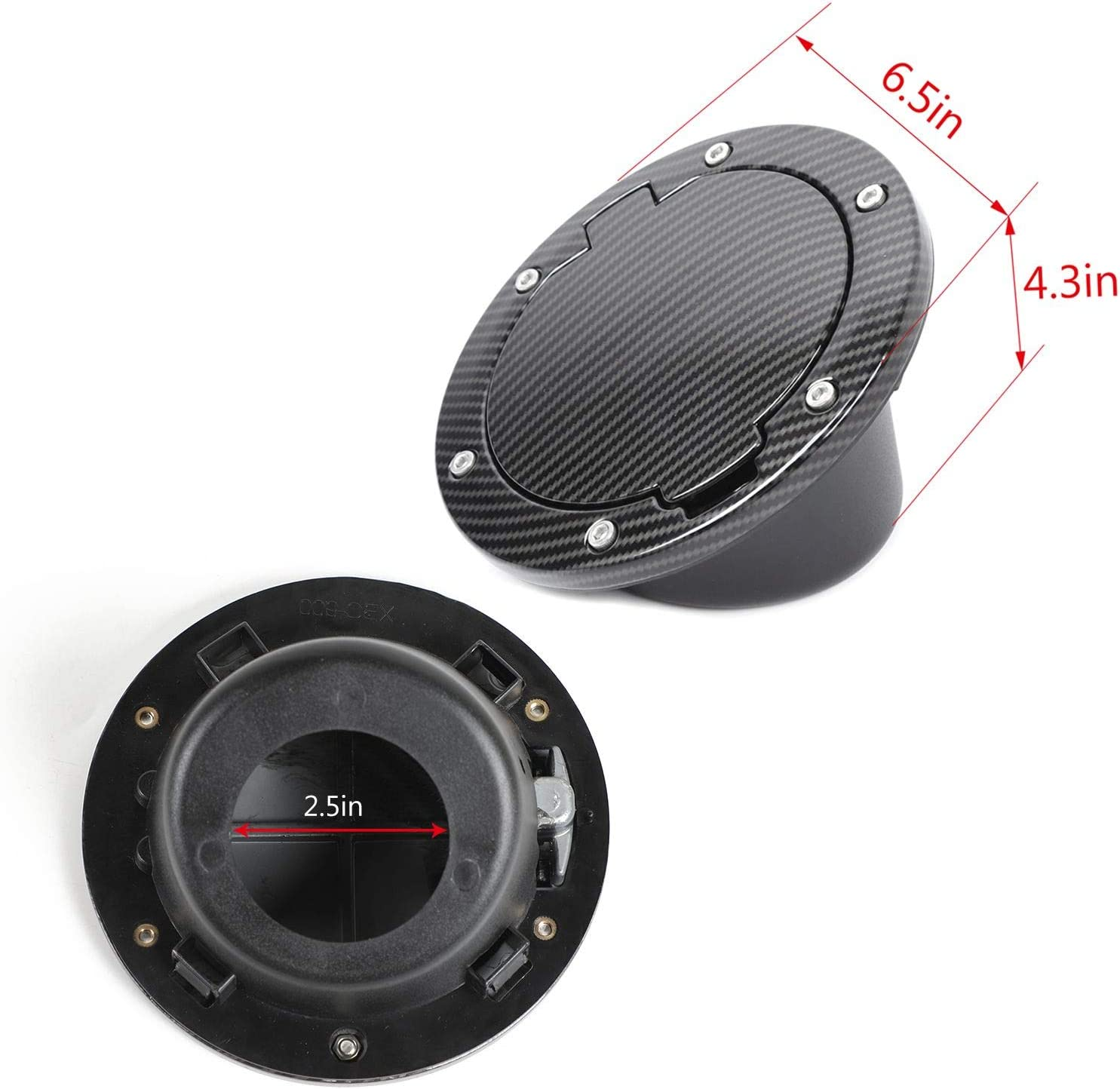 Carbon Fiber Texture JeCar Fuel Door Cover Aluminum Alloy Gas Cap Cover Exterior Accessories for 2007-2018 Jeep Wrangler JK /& Unlimited