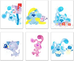 Watercolor Blue's Clues Prints - Set of 6 (8x10 Inches) Glossy Gender Neutral Kids Bedroom Wall Art Decor - Blue - Magenta - Mr. Salt - Mailbox - Periwinkle - Slippery Soap