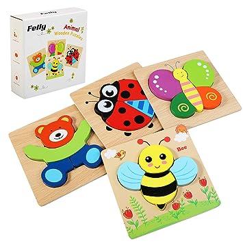 Felly Juguetes Bebes, Puzzles de Madera Educativos para Bebé, Juguetes niños 1 año 2 3 4 5 6 años, Dibujo de Animal Colorido con Placa, Regalo de ...