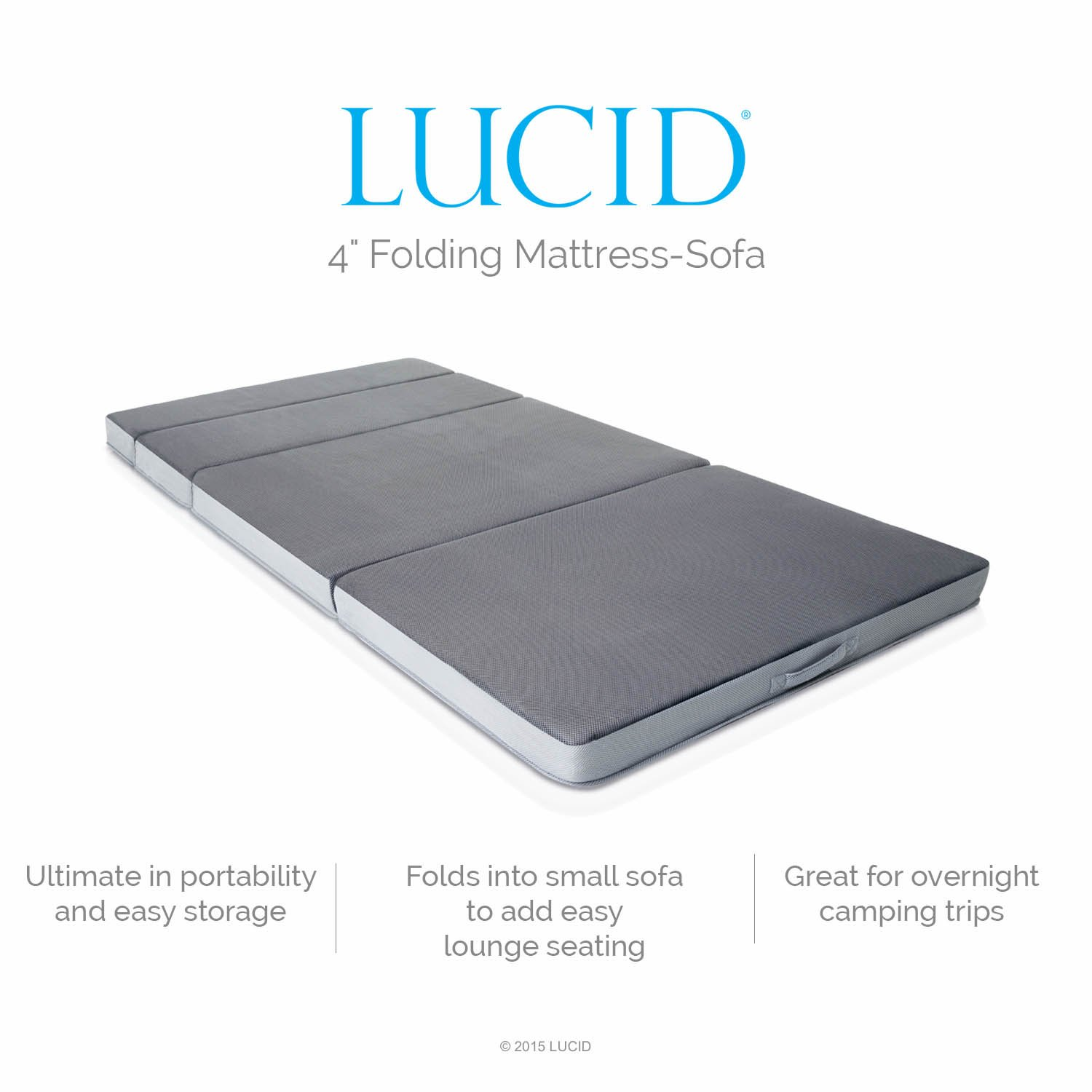 Amazon.com: LUCID 4 Inch Folding Mattress - Twin Size Dark grey: Home &  Kitchen