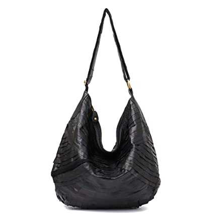 dcabf6973b Amazon.com  Vintage Leather Women Patchwork Hobo Bag STEPHIECATH Soft  Casual Real Lamb Leather Sheep Skin Messenger Bag (BLACK)  Musical  Instruments