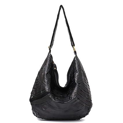 93a166de1d68 Amazon.com  Vintage Leather Women Patchwork Hobo Bag STEPHIECATH Soft  Casual Real Lamb Leather Sheep Skin Messenger Bag (BLACK)  Musical  Instruments