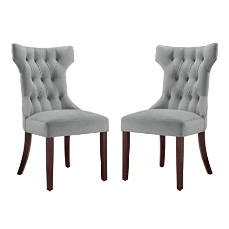 225 & Dorel Living DA6090-PL Clairborne Upholstered dining chair set of 2 Gray