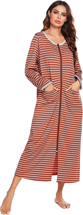Womens Maxi Long Hooded Robe Dressing Gown Housecoat Zip Up Bathrobe Dresses